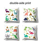 Cute Dinosaur Throw Pillow Cover Set of 4 Gift for Children HD Printing Decorative Pillowcases