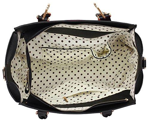 ANNA GRACE - Bolso de tela de piel sintética para mujer Design 1 : Black/Nude
