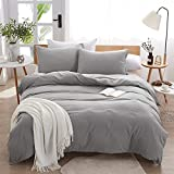 Dreaming Wapiti Duvet Cover,100% Washed Microfiber 3pcs Bedding Duvet Cover Set,Solid Color - Soft and Breathable with Zipper Closure & Corner Ties (Light Gray, King)