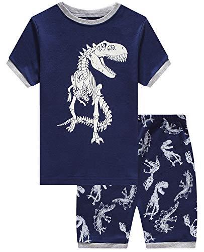 Boys Short Pajamas 100% Cotton Dinosaur Glow in The Dark Summer Toddler Pjs Set Clothes Sleepwear 5]()