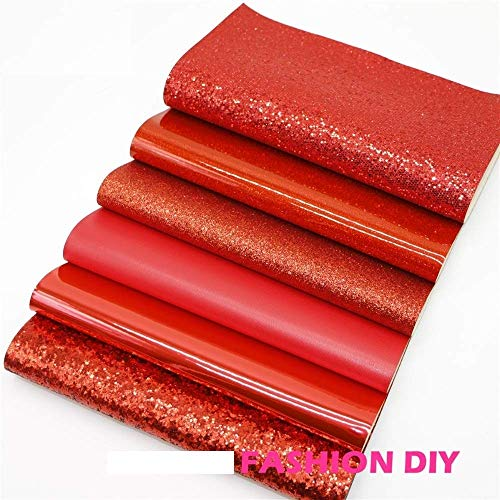 6Pcs 20x22cm Style Mix PU Leather Fabric Sheet-Synthetic Leather for Crafting-Glitter Synthetic Leather Fabric-Synthetic Leather Fabric Sheets-DIY Fabric for Bag, Decorative Handmade (Red)