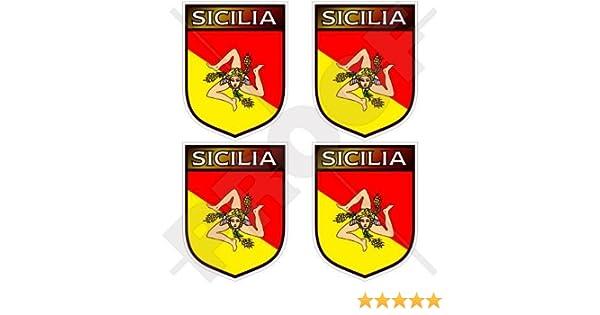 """Bumper-Helmet Stickers x4 2/"""" SICILY Sicilian Shield Italy SICILIA Italian 50mm"""