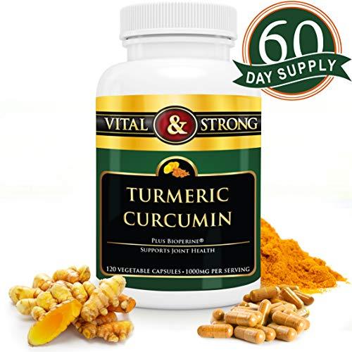 Turmeric Curcumin with Bioperine Black Pepper Capsules 1000mg - Premium Pain Relief & Natural Anti Inflammatory Joint Support - Turmeric Curcuma Extract - Non-GMO, Vegan Capsules - 60 Day Supply