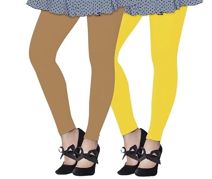 fc302241cc8cb Lux Lyra Women's Ankle Length Leggings, Pack of 2 (Beige : Yellow ...