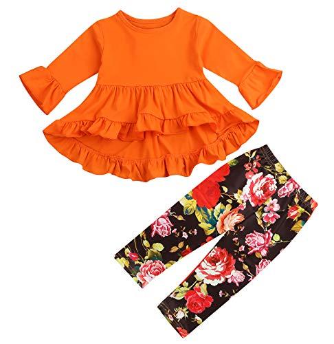 2Pcs Little Girls Outfit Set Orange/Pink Long Sleeve Ruffle Irregular Hem Blouse Top and Floral Pants Clothes Sets (Orange, 18-24 Months) - Orange Floral Tunic