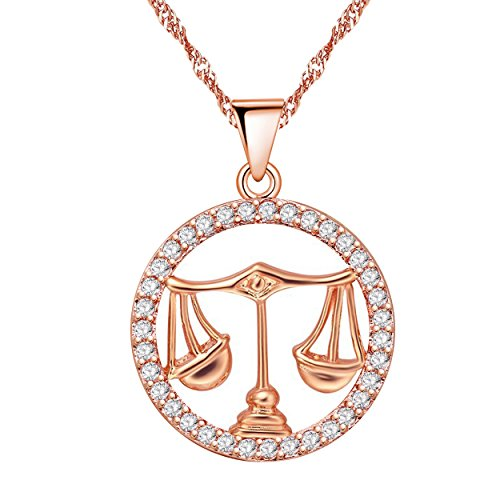 Uloveido Libra Constellation Necklace Rose Gold Balance Shape Cubic Zirconia 12 Zodiac Constellation Pendant Jewelry Necklace Birthday September 23rd to October 23rd Gift 50% off N1047-Libra