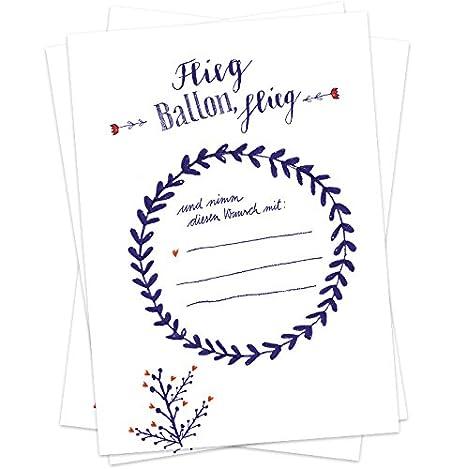 50 Ballonflugkarten - Flieg BALLON, flieg! | für Hochzeit, Geburtstag, Taufe, Kommunion u.v.m. | Partyspiel mit Ballonkarten