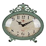 NIKKY HOME Shabby Chic Pewter Table Clock (Aqua)