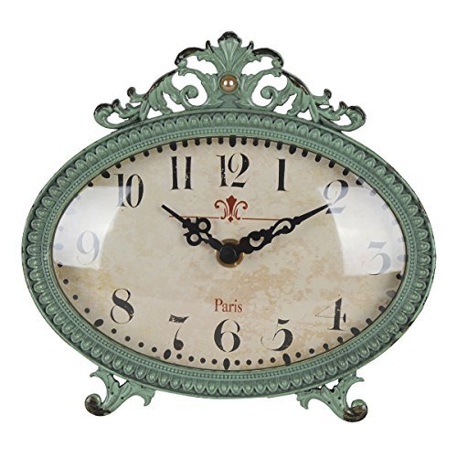 NIKKY HOME Shabby Chic Pewter Table Clock (Aqua) (Blue Bedroom Country)