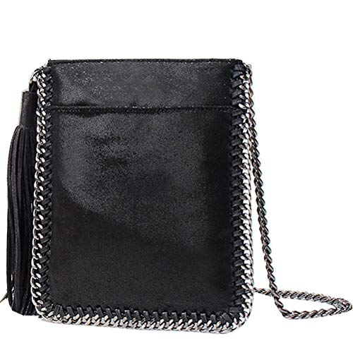 (Donalworld Women Chain Paillette Casual Tote PU Leather Shoulder Bag Purse S Wt )