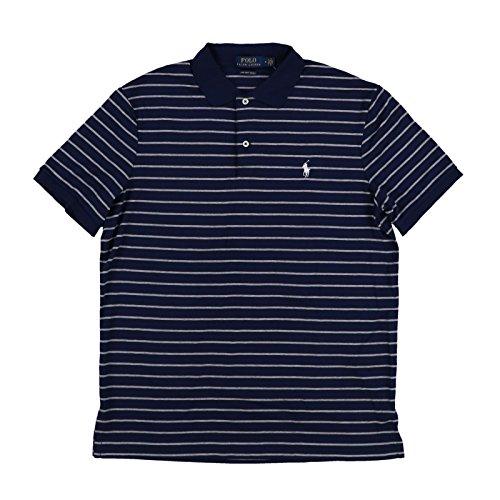 (Polo Ralph Lauren Mens Pima Soft Touch Interlock Polo Shirt (Medium, Navy/Gray))