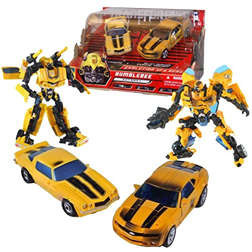 Hasbro Year 2007 Transformers Movie Series 1 Exclusive 2 Pack Deluxe Class 6 Inch Tall Robot Action Figure Collectible Set - EVOLUTION OF A HERO - Classic Camaro BUMBLEBEE with Missile Launchers and Battle Damaged Camaro Concept BUMBLEBEE with Cannon that Converts to Blade -