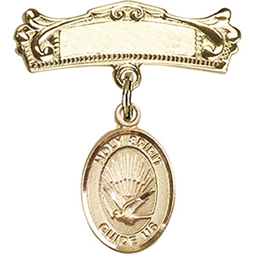 14kt Yellow Gold Baby Badge with Holy Spirit Charm and Arched Polished Badge Pin 7/8 X 3/4 inches by Unknown