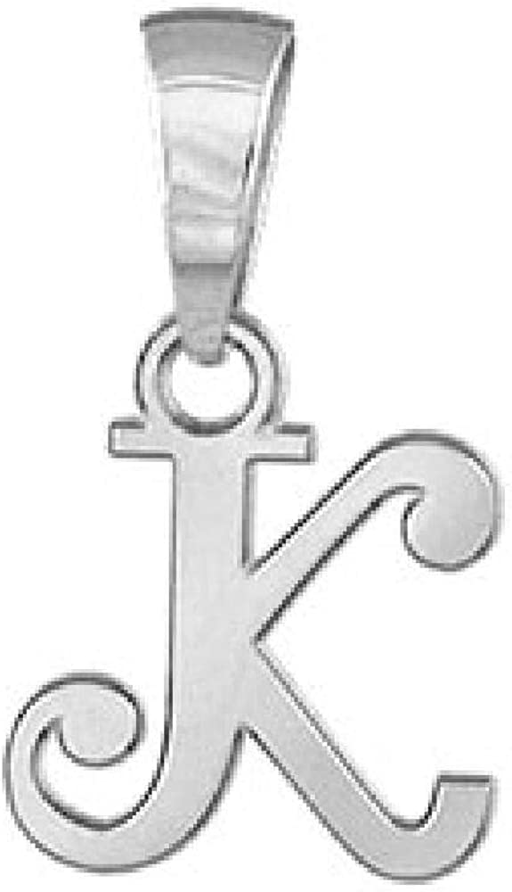 925 Sterling Silver Alphabet Letter K Initial Pendant So Chic Jewels