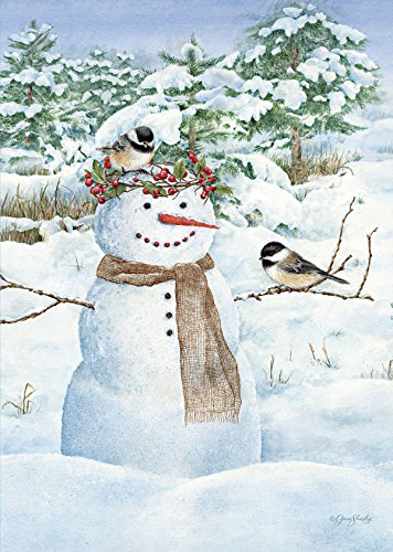 Lang Mini Garden Flag - Chickadee Snowman, Exclusive Artwork
