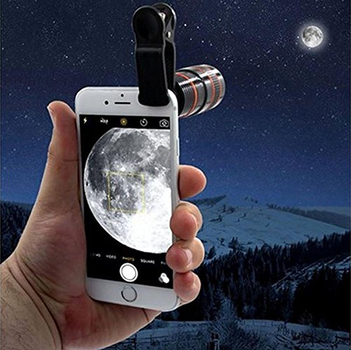 Phone Telescope, Hometom Transform Your Phone Into A Professional Quality Camera!! HD360 Zoom Hot (Black)