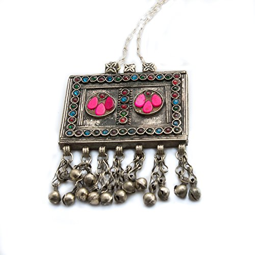 Duel on Jewel Tribal Baloch Antique Square Pendant with Bell Ornaments in Lapis Lazuli (Exotica Pendant)