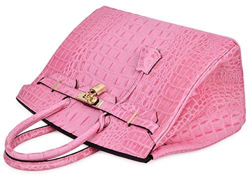 Cherish Kiss Women's Luxury Embossed Crocodile Leather Tote Office Padlock Handbags (30CM, Pink) by Cherish Kiss (Image #5)