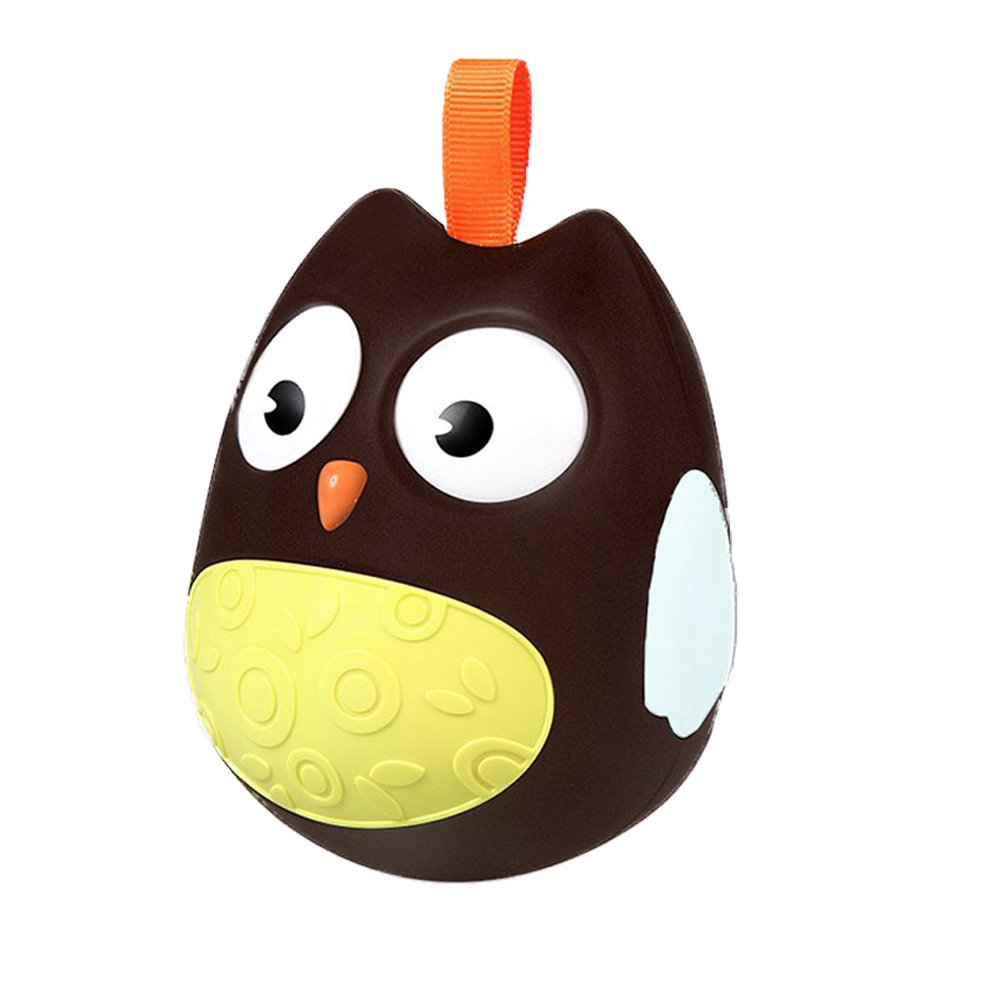 Newborn Toys Rattle Owl Doll Tumbler Toys for Toddler Baby Kids Educational Toy Gift for Boys and Girls - Brown