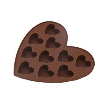 CTGVH moldes para hacer dulces de chocolate, moldes de silicona para tartas de chocolate con forma de corazón, 10 agujeros: Amazon.es: Hogar