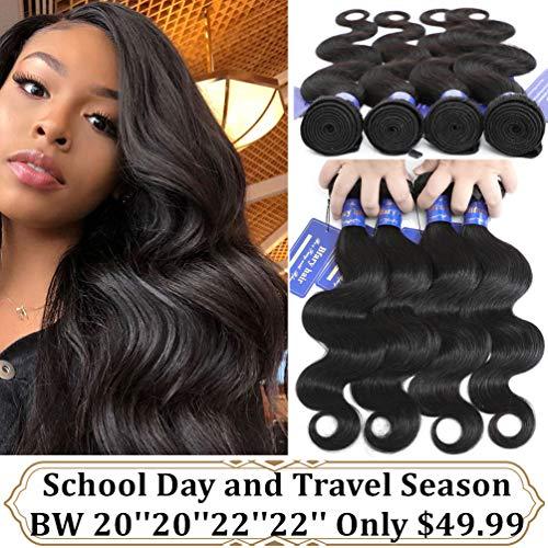Bfary Hair Peruvian Virgin Body Wave Human Hair 4 Bundles, 70Gram/Piece, Totally 280Gram(20'' 20'' 22'' 22'',Natural Color), 8A 100% Unprocessed Body Wave Hair Extension Weft for Black Women (The Best Peruvian Hair)