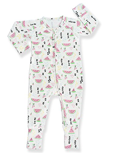 Pajammie Zipsuit Unisex Baby Bamboo and Organic Cotton Pajama Footie Sleeper (12-18 Months, Watermelon Delight)