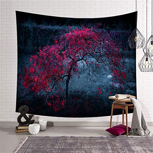 (FIged Starry Sky Tapestry,Autumn Breeze Blowing red Trees, Bedroom Living Kids Room Dorm Accessories Art Wall Hanging, 58.5 W x 50.7 L Inches)