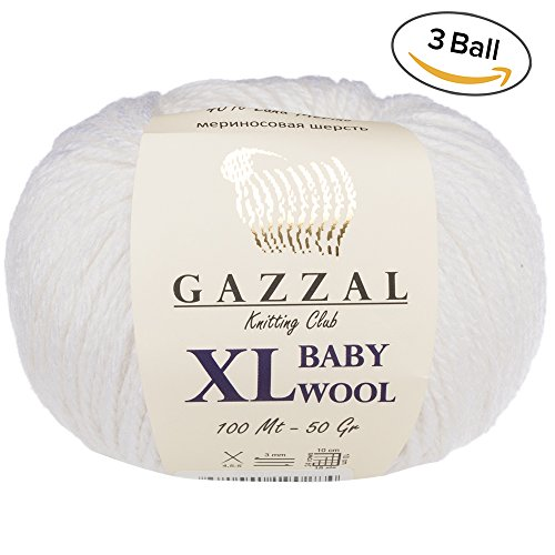 50 Wool Ball Yarn Gram (3 Pack (Ball) Gazzal Baby Wool XL Total 5.28 Oz / 328 Yrds, Each Ball 1.76 Oz (50g) / 109 Yrds (100m) Super Soft, Medium-Worsted Yarn, 40% Lana Merino 20% Cashmere Type Polyamide, White-801)