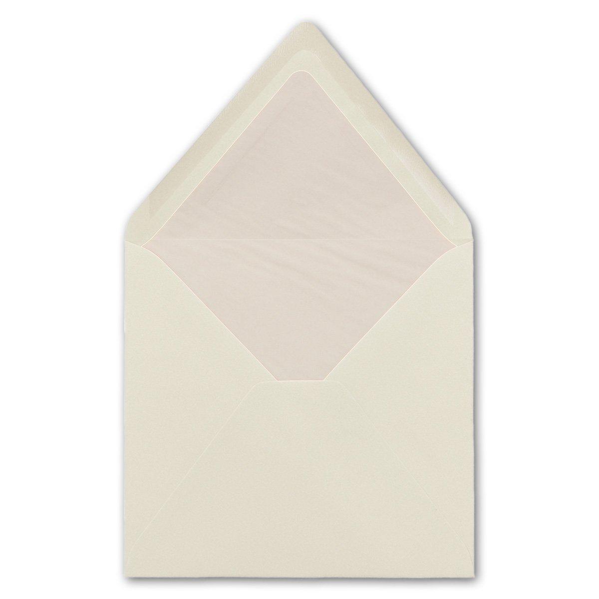 Caribicblau mit wei/ßem Seidenfutter 25 St/ück Umschl/äge Quadratisch 16 x 16 cm Na/ßklebung mit spitzer Verschlussklappe |Ideal f/ür Gr/ü/ße und Einladungen gef/ütterte quadratische Briefumschl/äge