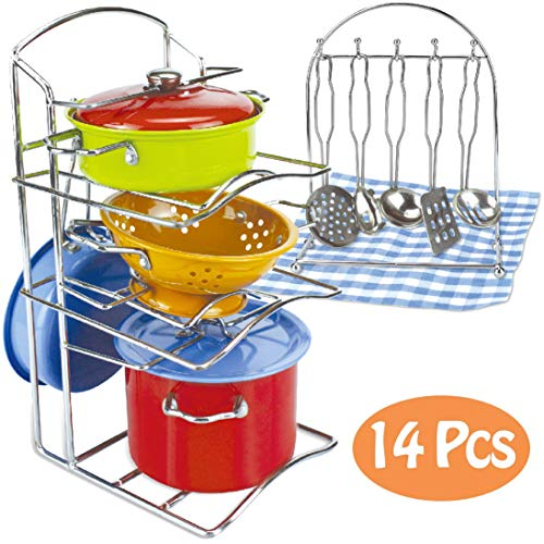 Liberty Imports Kids Play Kitchen Toys Pretend Cooking Multicolored Stainless Steel Pots and Pans Metal Dish Rack Kitchen Set with Utensils (14 Pieces)