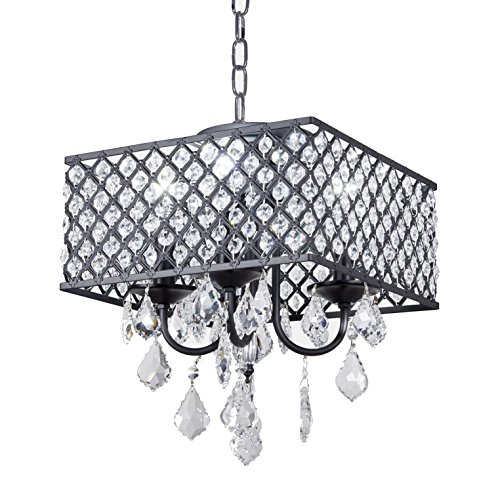 Diamond Life 4-Light Antique Black Square Metal and Crytal Shade Crystal Chandelier Pendant Hanging Ceiling Fixture
