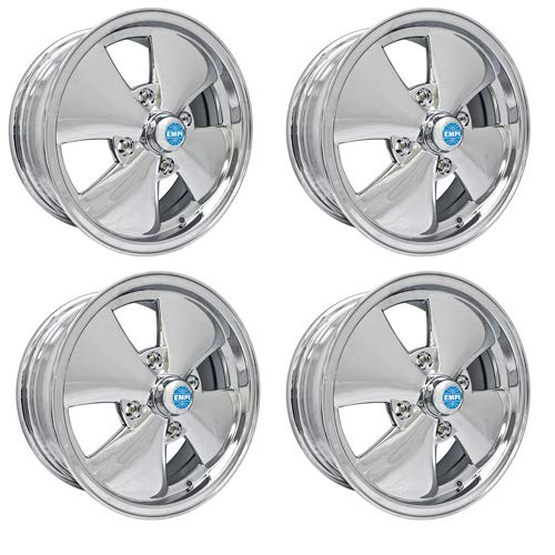 "4 SPOKE WHEELS All Chrome, 5.5"" Wide, Fits 4 on 130mm VW, Dunebuggy & VW"