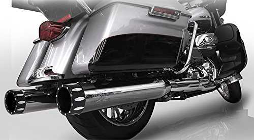 """RC Components RCX116C-26E 4.5"""" Chrome Slip-On Mufflers with Eclipse Rival Tips for 2017 Harley Touring FLH FLT Models"""