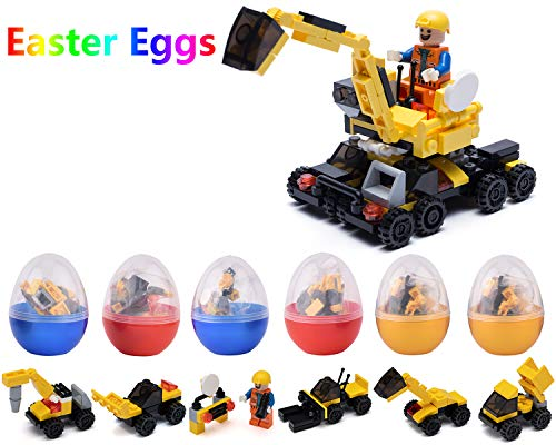 Mayzo 127 Pieces Mini Building Blocks Toy 6 Pack Building Blocks Set inside Plastic Eggs for Party Favors Mini Toy Bricks to Build Construction Vehicles Gift for Boys 6-10 Year Old Yellow. -