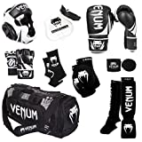 Venum Challenger 2.0 MMA Training Bundle, Black Gloves, Black In-Step Shinguards, Black MMA Gloves, Black Headgear, Black Handwraps, Black/White Mouthguard, Black Sport Bag, Black Ankle Support, Black Elbow Protector, 16-Ounce Boxing Gloves, Large/X-Large MMA Gloves