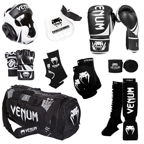 Venum Challenger 2.0 MMA Training Bundle, Black Gloves, Black In-Step Shinguards, Black MMA Gloves, Black Headgear, Black Handwraps, Black/White Mouthguard, Black Sport Bag, Black Ankle Support, Black Elbow Protector, 16-Ounce Boxing Gloves, Medium MMA Gloves