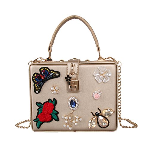 Womens Flower Cena Diamond De Butterfly Gold Embroidery Bolso Lujo Bolsa Perlas rrgBHn8