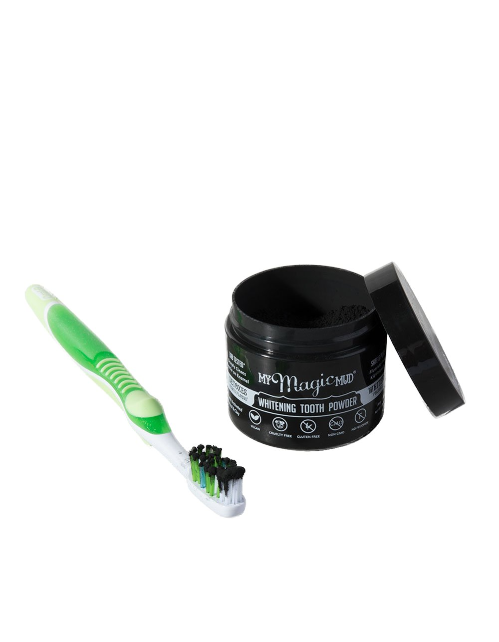 My Magic Mud Activated Charcoal Tooth Powder for Whitening, 100% Natural Oral Care, Fluoride-Free, Non-GMO, Original, 150 uses, 1.06 oz.