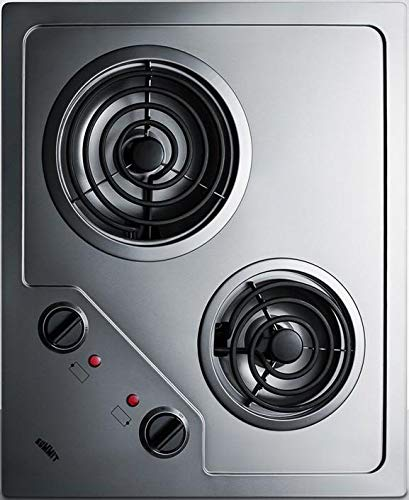 (Summit CR2B122 Electric Cooktop, Stainless Steel)