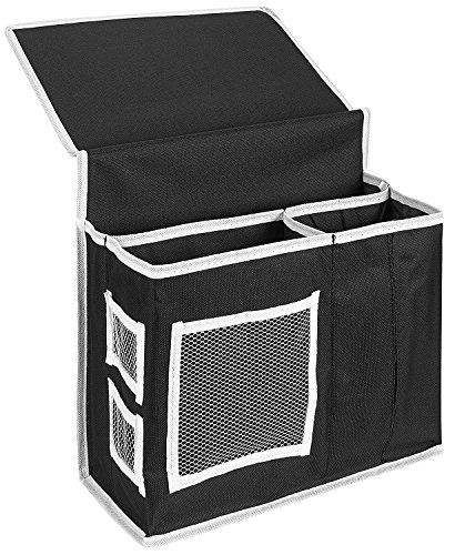 VOIMAKAS Bedside Hanging Storage Bag, 6 Pockets Oxford Cloth Organizer Bag for Book Magazine Phone Tissue TV Remote Accessory - Black by VOIMAKAS (Image #6)