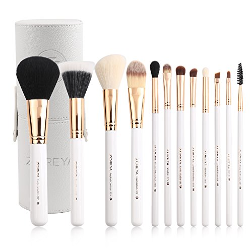 Zoreya Travel Makeup Brush Set White 12pcs Makeup Brushes Premium Synthetic Hair Professional Foundation Powder Contour Blush Cosmetic Eye Brush Sets With Holder For Christmas Gifts Cosmetic Eye Contour Brush