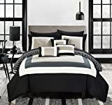 Chic Home Jake 10 Piece Comforter Set Reversible Hotel Collection Color Block Geometric Pattern Print Design Bed in a Bag Bedding – Sheets Decorative Pillows Shams Included King Navy