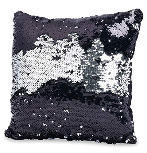 - Throw Pillows for Couch 12 x 12, Also for Bed and Sofa, Decorative Silver/Black Sequins