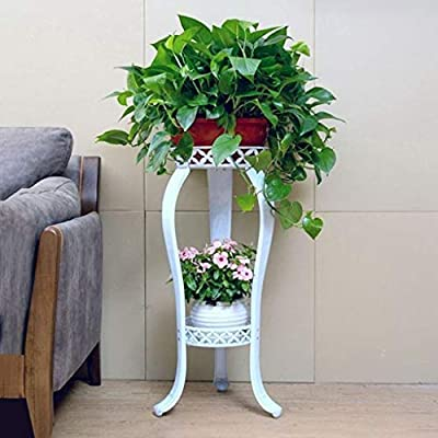 Metal Tall Potted Plant Stand, Rustproof Flower Pot Rack with Indoor Outdoor Iron Art Planter Holders Garden Steel Pots Containers Corner Display Stand for Home, Garden, Patio(White, 32inch) : Garden & Outdoor