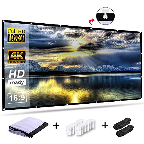 Screen Motorized Projection 9 (RELEE Projector Screen 100 Inch 16:9 HD Foldable Anti-Crease Portable Outdoor Indoor Projector Movies Screen Wall Mount for Home Theater Support Double Sided)