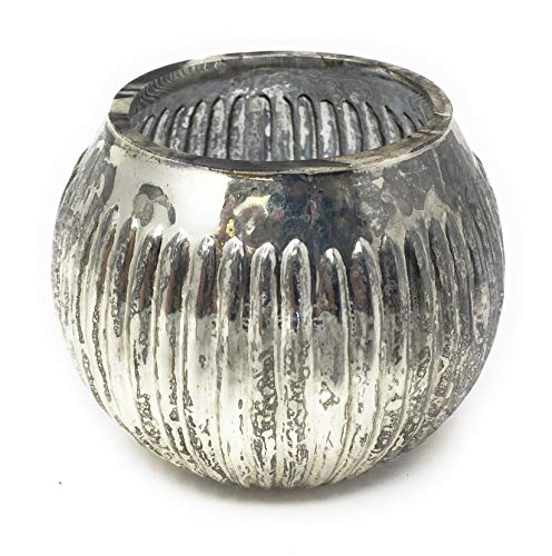 Serene Spaces Living Ribbed Silver Mercury Orbs, Set of (Silver Mercury Glass Pineapple)