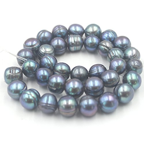- SR BGSJ 10-12mm Nearly Round Freshwater Cultured Pearl Gemstone Jewelry Making Spacer Loose Beads Strand 15