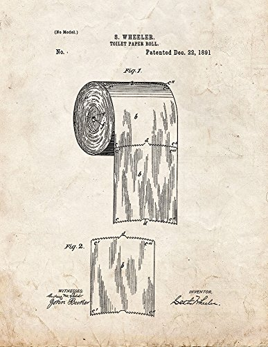 Toilet Paper Roll Patent Print Art Poster Old Look (13