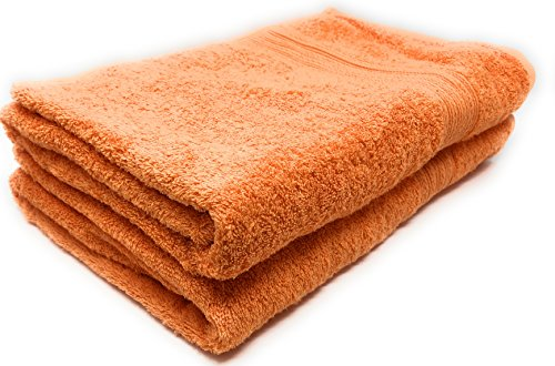 - Maymarg 100% Cotton Towels (Orange, Bath Towels - Set of 2, 28x56)