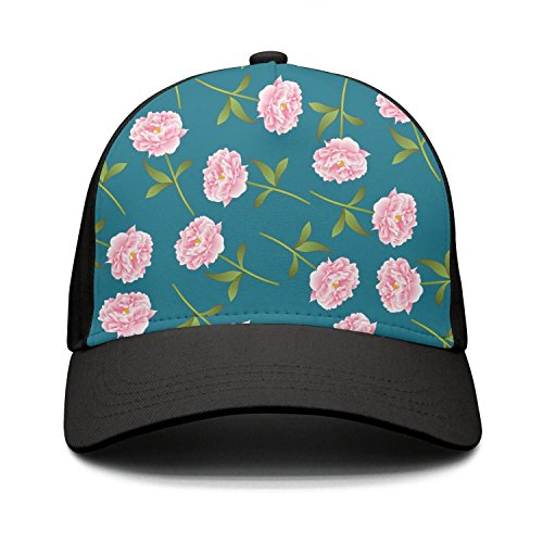 HASIDHDNAC Pink Roses Flower Blue Background Fashion caps for Unisex from HASIDHDNAC